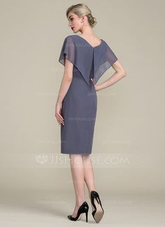 Sheath/Column V-neck Knee-Length Ruffle Zipper Up Sleeves Short Sleeves No Stormy General Plus Chiffon Height:5.7ft Bust:33in Waist:24in Hips:34in US 2 / UK 6 / EU 32 Mother of the Bride Dress
