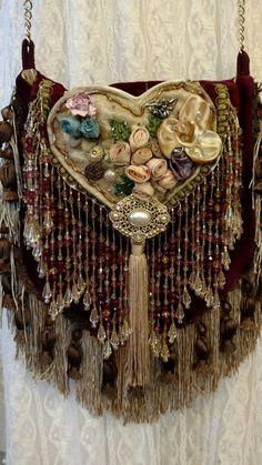 Handmade Cross Body Fringe Fabric Bag Hippie Boho Gypsy Victorian Purse tmyers #Handmade #MessengerCrossBody