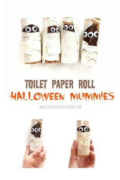 Finding Myself Young: Super easy halloween toilet paper roll mummies Make these cute Halloween mummies in under 5 minutes. Easy Halloween Crafts, Cute Halloween, Craft Activities For Kids, Crafts For Kids, Craft Ideas, Toilet Paper Roll Crafts, Spooky Decor, Masking Tape, Voss Bottle