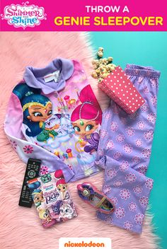 Boom Zahramay, magical sleepovers on the way! Get comfy in this 2-piece Shimmer and Shine pajama set. Your little genie will love sleeping and lounging around in the soft jersey that is warm and cozy and fun to wear! Grab some snacks, pop in the Magical Pets of Zahramay Falls DVD and have a magical movie night! Perfect for any preschool slumber party!