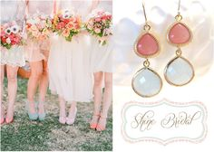 Coral Mint Bridesmaid Earrings Coral Earrings by LoveShineBridal, $33.00