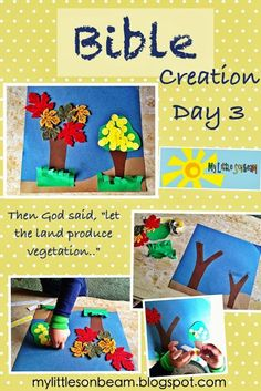 My Little Sonbeam: September Week 4- Bible memory verse, song, Bible activity and craft ideas for Creation Day 3. God created land, the trees and seed bearing plants! Mylittlesonbeam.blogspot.com Homeschool preschool learning activities for 2,3,4 year olds.