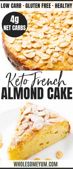 Keto French Almond Cake Recipe - See how to make keto almond flour cake with net carbs! This easy toasted almond cake recipe is delicious and tastes like a real French almond cake. Best foods and diet plan for pre-diabetes and diabetes home remedies Low Carb Sweets, Low Carb Desserts, Low Carb Recipes, Dessert Recipes, Breakfast Recipes, Breakfast Healthy, Diabetic Cake Recipes, Xmas Recipes, Healthy Cake Recipes