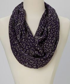 Another great find on #zulily! Purple & Gray Skull Animal Infinity Scarf by Chic #zulilyfinds