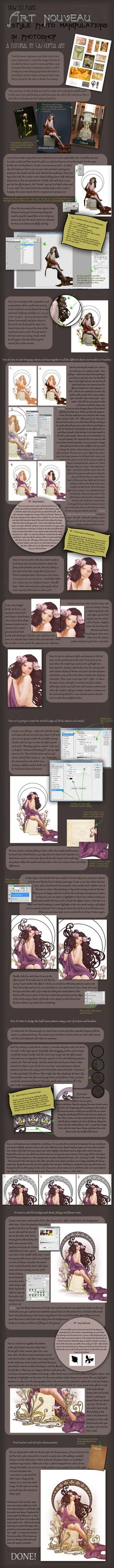 Art Nouveau Tutorial by *CassiopeiaArt on deviantART, possible photoshop techniques for fairy tales.