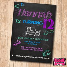 DIY Printable Chalkboard Sleepover Party Invite by LilPartyAnimals, $12.00