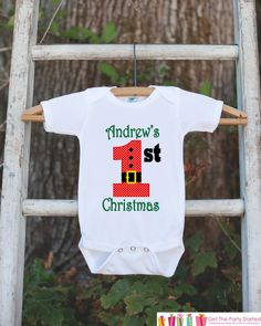 First Christmas Outfit - Christmas Onepiece - Baby's First Christmas With Santa Outfit