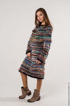 Купить Авторское платье ''BALTIC''(48-50р) - комбинированный, в полоску, теплое платье, теплый подарок