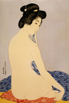 Hashiguchi Goyō: Woman after bath, 1920    Woman after bath (the model Tomi after bath), woodcut by Hashiguchi Goyō, July 1920.
