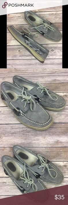 Sperry Top Sider Gray Leather Boat Shoes Leopard Sperry Top Sider Gray Leather Shoes Leopard / Animal Print Women's Size 6.5  Gently used - small discoloration on leather on front right toe - otherwise very little signs of wear.  Please see photos.  2 eye style w/ leather laces Gray leather uppers Animal print in shades of gray on sides of shoes Sperry Shoes Flats & Loafers