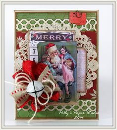 Merry Santa Bingo Christmas Greeting Card Handmade by PollysPaper