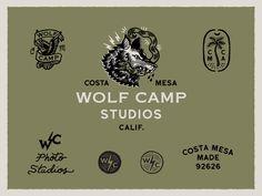 Wolfcamp Studios Logo System Self Branding, Branding Agency, Logo Branding, Branding Design, Logo Design, Mascot Design, Badge Design, Studio Logo, Tattoo Studio