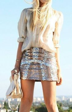 minifalda lentejuelas & camisa crema - beige