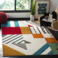 Shop Safavieh Hollywood Tatianna Mid-Century Modern Abstract Rug - On Sale - Overstock - 13267955 - x - Ivory/Peacock Blue Contemporary Area Rugs, Modern Area Rugs, Contemporary Home Decor, Plywood Furniture, Furniture Decor, Modern Furniture, Mid Century Modern Rugs, Mid Century Rug, Modern Family Rooms