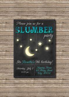 Chalkboard Moon and Stars Birthday Slumber Party Invitation - Customized Digital File                                                                                                                                                                                 More