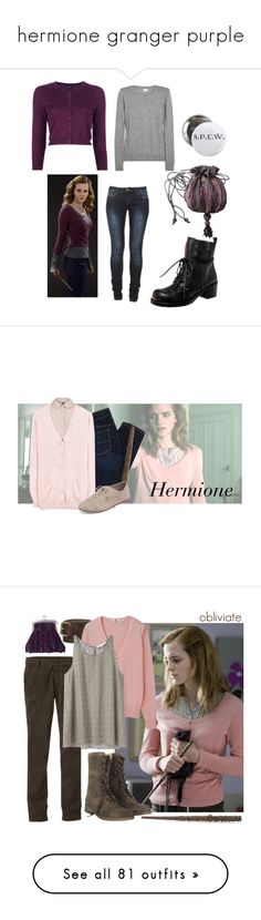 """""""hermione granger purple"""" by waitingforlastcentarion ❤ liked on Polyvore featuring ARI, Iris & Ink, Snobby Sheep, American Eagle Outfitters, MANGO, Yves Saint Laurent, Lucky Brand, Topman, Emma Watson and Uniqlo"""