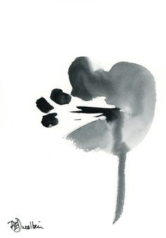 Zen Amaryllis Original Abstract Art Watercolor Painting black minimalist flower contemporary asian, via Etsy.