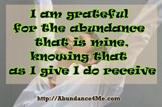 I am grateful for the abundance that is mine... #abundance4me #affirmations