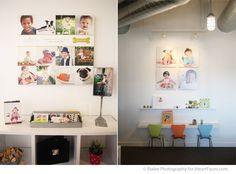 I like the idea of having a little kids corner in the studio, with the colored chairs, books, and photos of kids on the wall...