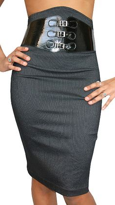 Cooperate Sexy!   The men in the office Will go crazy. Be both modern and trendsetting in this kittenish skirt. This pin-stripe, high waisted design features a leatherette belted front that adds an edgy touch.
