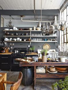 Industrial decor style is perfect for any interior. An industrial kitchen is… Industrial Kitchen Design, Industrial House, Industrial Interiors, Interior Design Kitchen, Industrial Style, Industrial Shelving, Industrial Bedroom, Industrial Farmhouse, Vintage Industrial