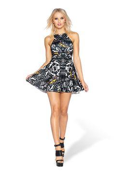 Dark Moth Reversible Skater Dress - LIMITED