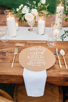 simple and elegant kraft paper menu Read More on SMP: http://www.stylemepretty.com/living/2016/08/09/this-is-the-wildly-gorgeous-solution-to-a-gender-neutral-baby-shower/