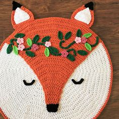 #Crochet Woodland Fox Nursery Rug Pattern with a beautiful woodland crown. Add a little bit of woodland whimsy to a baby nursery. These sweet rug is adorable and easy to m... #crochet #knit