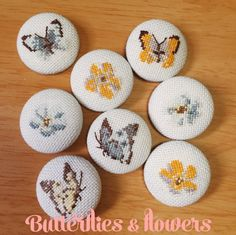Cross stitch buttons  Butterflies and flowers by RainforestSky