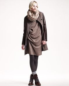 Leather-Sleeve Coat, Ruched Flannel Dress & Leaf-Print Cashmere Scarf by Brunello Cucinelli