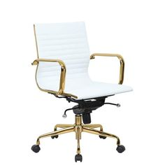 Shabby Chic Furniture, Modern Furniture, White Desk Office, Gold Office, Rolling Office Chair, Easy Frame, High Back Chairs, Furniture For Small Spaces, Chair Pads