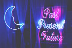 Crescent Moon Neon Lights Psychic Shop Past Present Future Neon Light Signs, Neon Signs, Neon Words, Online Psychic, The Rocky Horror Picture Show, All Of The Lights, Neon Aesthetic, Past Present Future, Neon Glow