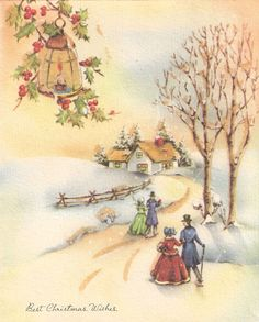 Vintage Christmas Snowy Village Card ~ Peach Skyline