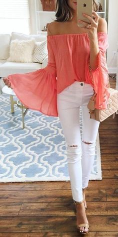 LOVE this color! fun flirty off the shoulder top and white jeans. Perfect!