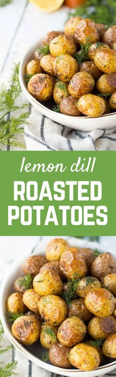 My husband isn't a potato fan and even he couldn't get enough of these crispy dill roasted potatoes with lemon. He said they tasted butter-soaked (spoiler: they're not!). Get the easy side dish recipe on http://RachelCooks.com!