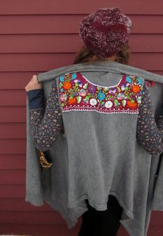 Mexican Embroidered Applique Long Upcycled by MountainGirlClothing Great way to update an old sweater vest. Mexican Outfit, Mexican Dresses, Mexican Style, Sweater Vests, Old Sweater, Sweaters, Mexican Designs, Sweater Layering, Diy Dress