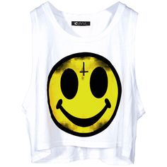Happy Face Top | Skinny Bitch Apparel, Clothing for Urban... ($42) ❤ liked on Polyvore featuring tops, shirts, tank tops, crop tops, yellow top, crop tank, graphic shirts, yellow tank and shirts & tops