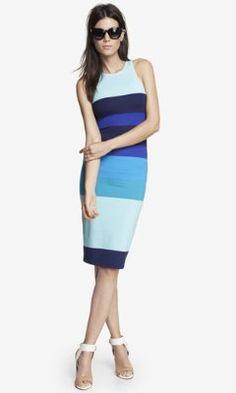Blue MULTICOLOR Colorblock STRIPE MIDI SHEATH DRESS from EXPRESS $45