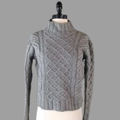 Paul James Sweater S 100% Wool England Fisherman Cable Knit Boxy Oversized #PaulJames #TurtleneckMock