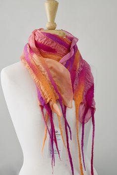 Nuno Felt Scarf, Wool Scarf, Nuno Felting, Wool Felting, Pink Purple, Orange Pink, Handmade Scarves, Silk Wool, Mulberry Silk
