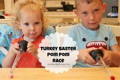 School Time Snippets: Turkey Baster Pom Pom Race {Fine Motor Friday}