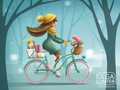 Girl riding a bicycle with bunny and gifts on Behance