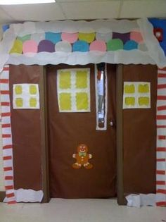 """Another Gingerbread House Christmas Door Decoration... I think I like the other one better though.  Wonder if I could make it work on the door / wall outside...   The bulletin board beside the door could be one of the """"windows"""".  Hmmmm...."""