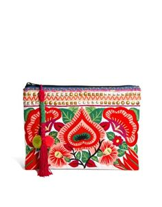 Image 1 of ASOS Clutch Bag With Floral Embroidery