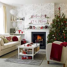 Christmas decoration in a cozy living room