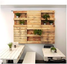 This is a good illustration of how versatile pallets are, great cafe fit out raw materials...