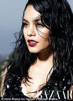 Vampy: Vanessa teamed smokey black eye make-up with dramatic dark lips
