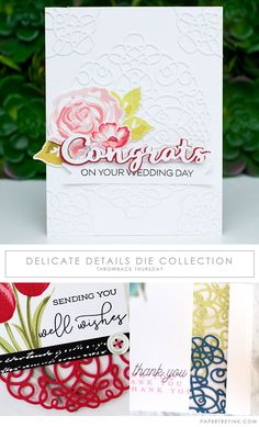 "Welcome to Throwback Thursday at Papertrey Ink! Today we have a few of our design team members revisiting the Delicate Details die collection. ""Delicate Details are a beautiful die collection. The dies add a lovely texture to projects. Use them to create a backdrop for any card occasion."""