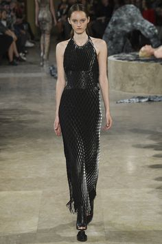 Black Halter Top Beaded Gown by Iris van Herpen Spring 2016 Ready-to-Wear Fashion Show