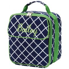 Monogrammed Insulated Lunch Tote - Navy Squares ($24.95)
